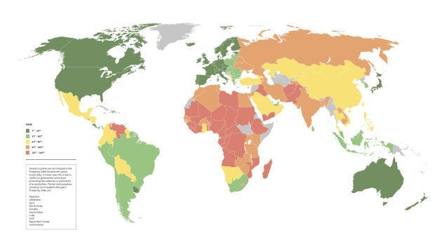 This colour-coded map shows the world's countries ranked by prosperity, Countries in deep green are the most prosperous, and countries in red are the least prosperous.