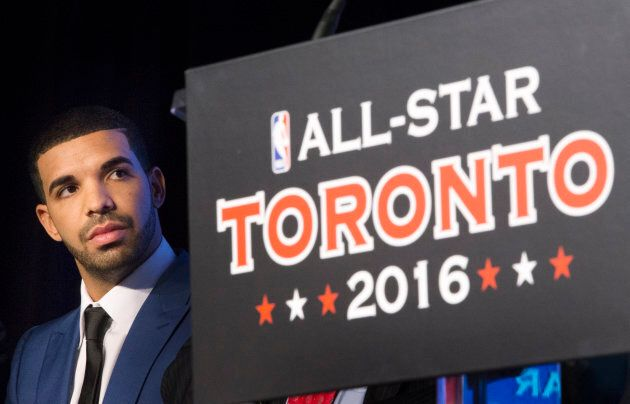 Drake looks on during an announcement on Sept. 30, 2013, that the Toronto Raptors will host the NBA All-Star...