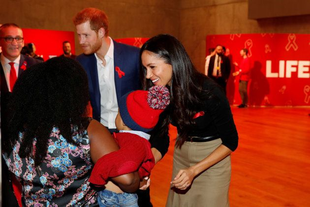 Prince Harry and Meghan Markle visit the Terrence Higgins Trust World AIDS Day charity fair at Nottingham Contemporary on Dec. 1, 2017 in Nottingham, England.