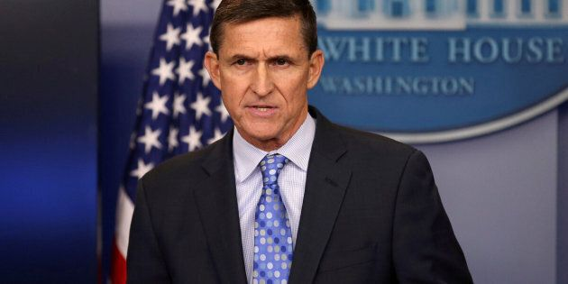Then-national security adviser General Michael Flynn delivers a statement daily briefing at the White...