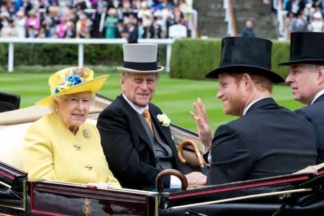 Queen Elizabeth II and Prince Philip with Prince Harry and Prince Andrew on the first day of The Royal...