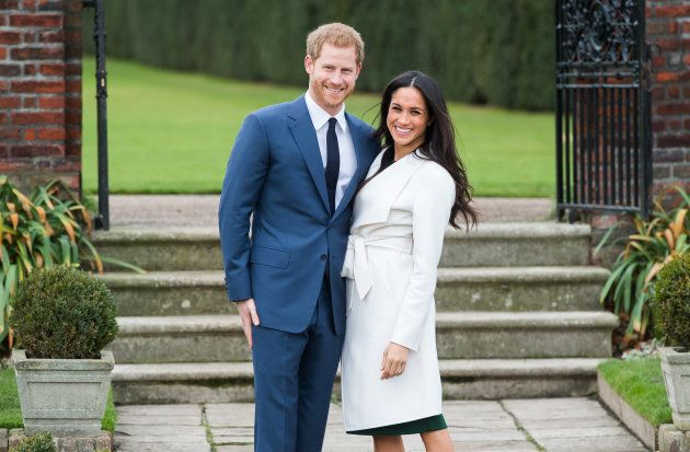 Prince Harry and Meghan Markle during an official photocall to announce their