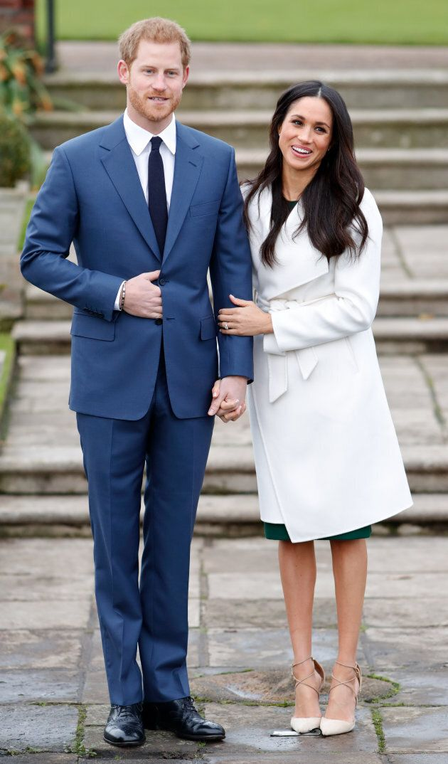 Prince Harry and Meghan Markle at Kensington Palace after it was announced they were engaged.