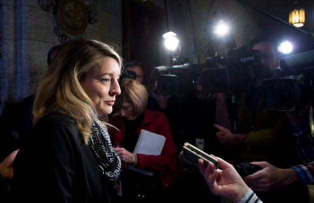 Heritage Minister Melanie Joly speaks with the media following Question Period in the House of Commons...