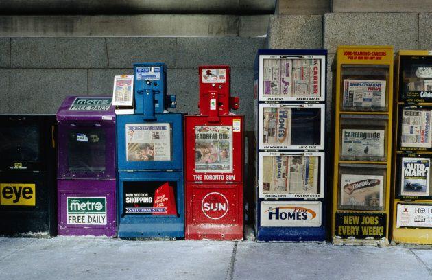 Newspaper bins in Toronto.