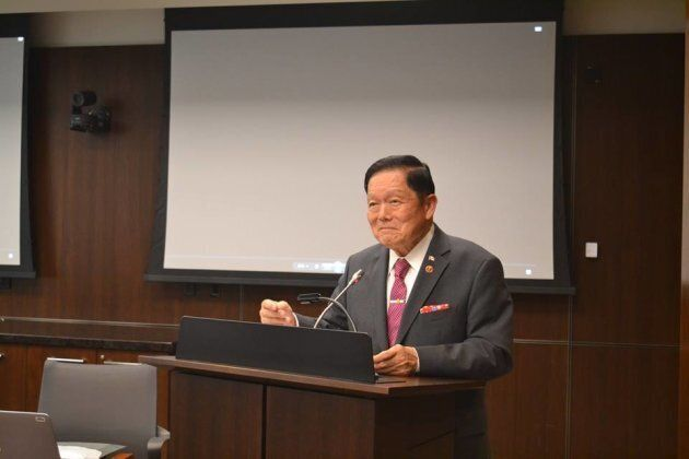 Sen. Victor Oh speaks at an event commemorating the repeal of the Chinese Exclusion Act in May