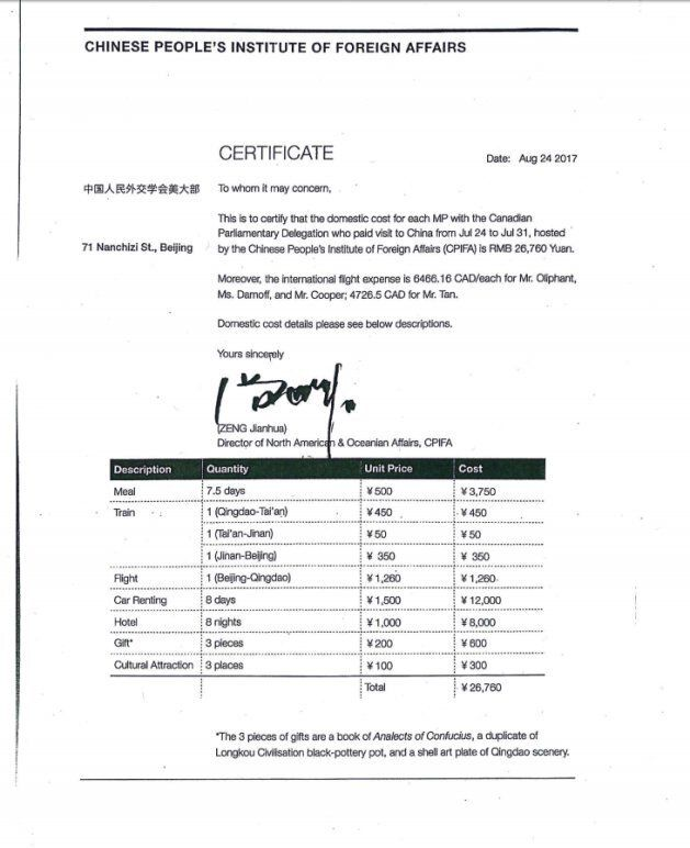 Copy of a certificate from the Chinese People's Institute Of Foreign Affairs breaking down the cost for...