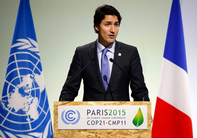 Prime Minister Justin Trudeau delivers a speech during the opening session of the World Climate Change...