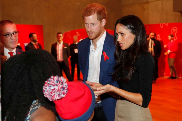 Prince Harry and Meghan Markle visit the Terrence Higgins Trust World AIDS Day charity fair at Nottingham Contemporary on Dec. 1.