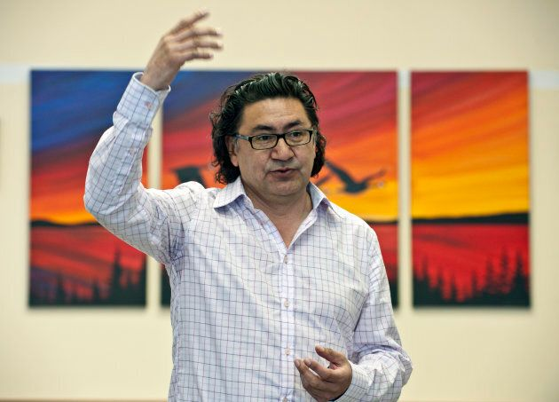 Romeo Saganash gives a speech to members of the Nation of Mistassini in Mistassini on April 21,
