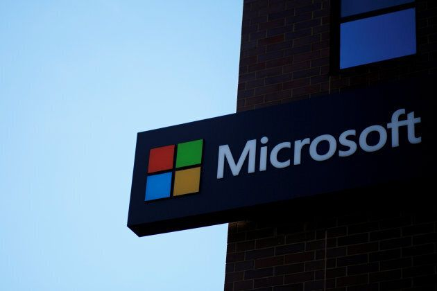 A sign marks the Microsoft office in Cambridge, Massachusetts, U.S. on Jan. 25,