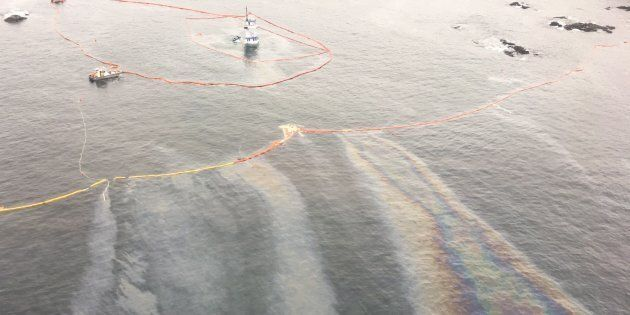 Oil is seen on the water in Seaforth Channel following an oil spill near Bella Bella, B.C., in this undated...