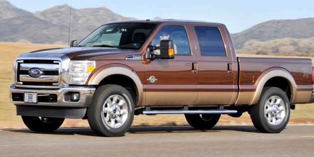 The Ford 2011 F-250 Super Duty Power Stroke diesel pickup truck is driven during a media test drive in...