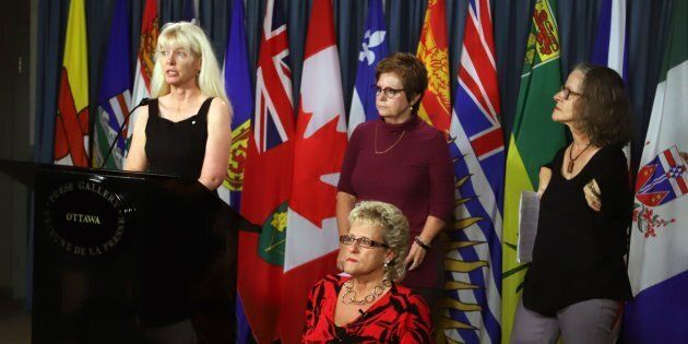 Members of the Thalidomide Survivors Task Group hold a news conference on Parliament Hill, in Ottawa,...