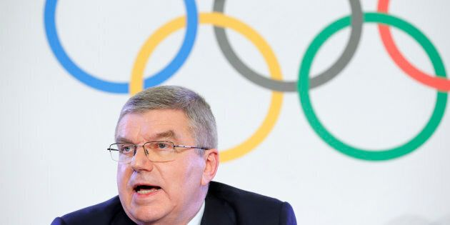 Thomas Bach, President of the International Olympic Committee, attends a news conference after an Executive...