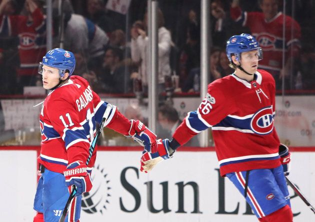 Montreal Canadiens right wing Brendan Gallagher (11) celebrates his goal against the Detroit Red Wings...