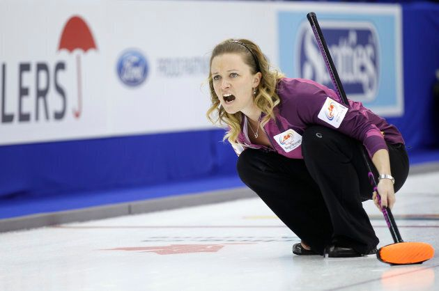 Skip Chelsea Carey yells at her sweepers during draw 7 against Team Lawton at the Roar of the Rings Canadian...