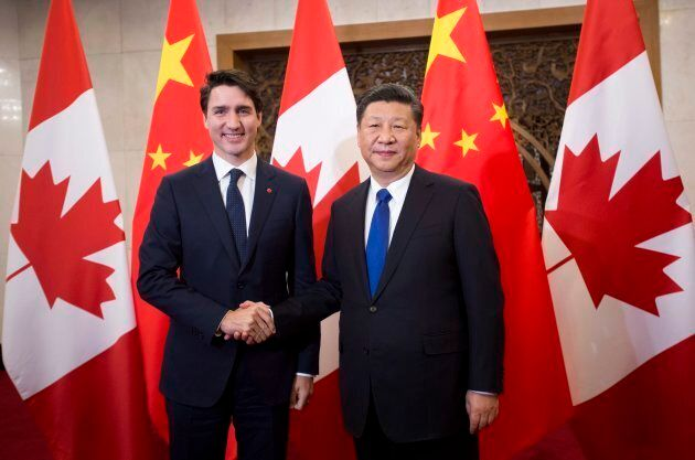 Prime Minister Justin Trudeau meets Chinese President Xi Jinping at the Diaoyutai State Guesthouse in...