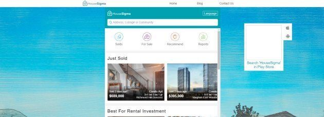 The House Sigma homepage features the recent selling price of some