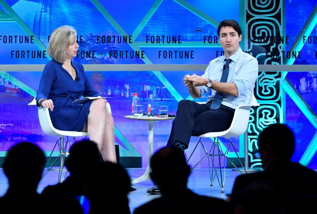 Prime Minister Justin Trudeau attends a session at the Fortune Global Forum in Guangzhou, China on Dec....