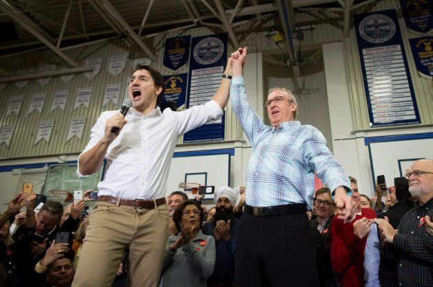 Prime Minister Justin Trudeau and South Surrey-White Rock Liberal byelection candidate Gordie Hogg attend...