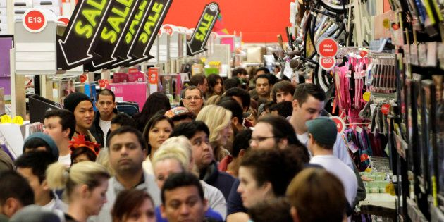 A crowd of shoppers browse at Target on the Thanksgiving Day holiday in Burbank, Calif., November 22,...