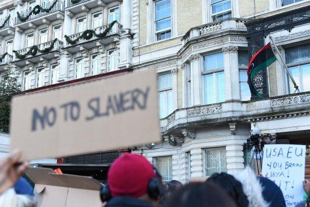 An anti slavery demonstration took place outside the Libyan Embassy in Knightsbridge, London on Nov....