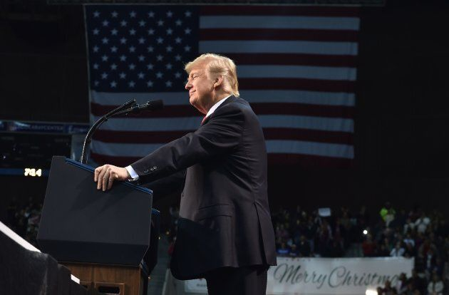 Trump speaks during a rally at the Pensacola Bay
