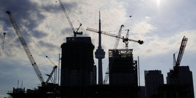 Condominiums under construction in Toronto, July 10, 2011. Data released on Friday showed urban construction...