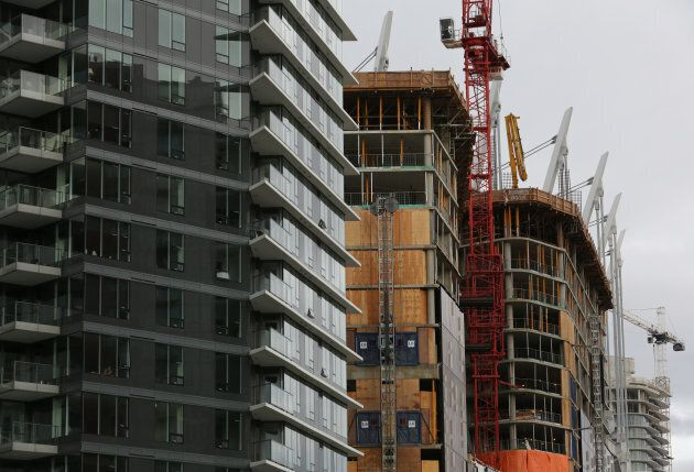 New condominium towers are seen under various stages of construction in the Yaletown district of downtown...