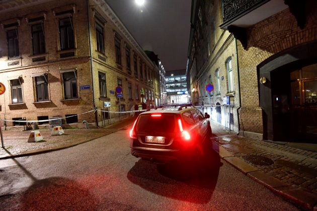 Police arrive after a synagogue was attacked in a failed arson attempt in Gothenburg, Sweden on Dec....