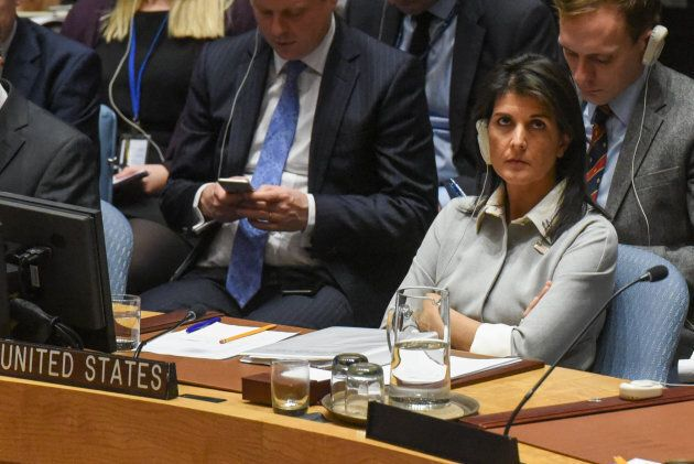 U.S. ambassador to the United Nations Nikki Haley listens to a speech during a United Nations Security...