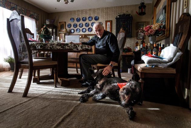 Hans Granholm pictured with his dog