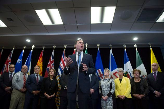 Federal Finance Minister Bill Morneau holds a news conference after meeting with his provincial counterparts...