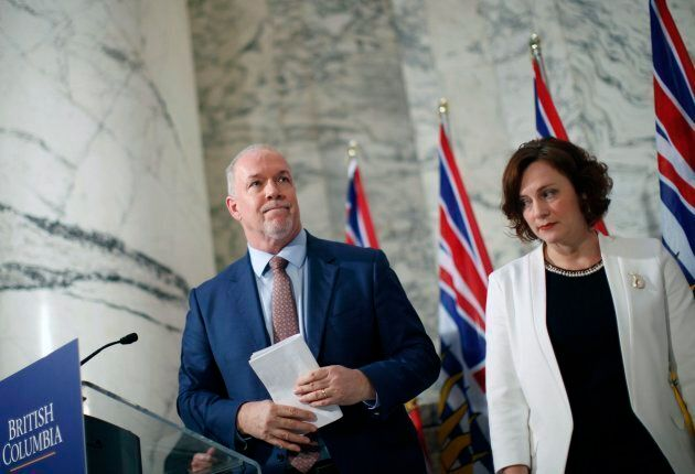 Premier John Horgan is joined by Minister of Energy Michelle Mungall after giving the green light on...