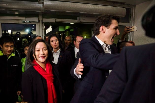 Justin Trudeau joins Liberal candidate Jean Yip and meets a crowd in Toronto on Nov. 22,