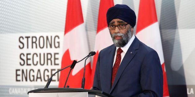 Defence Minister Harjit Sajjan speaks during a news conference in Ottawa on June 7,