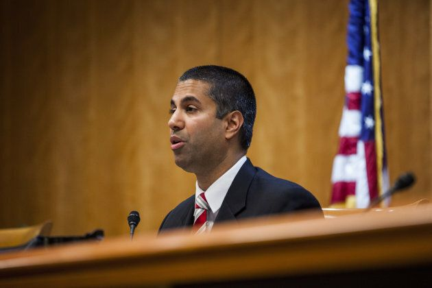Ajit Pai, chairman of the U.S. Federal Communications Commission, speaks during an open meeting in Washington,...