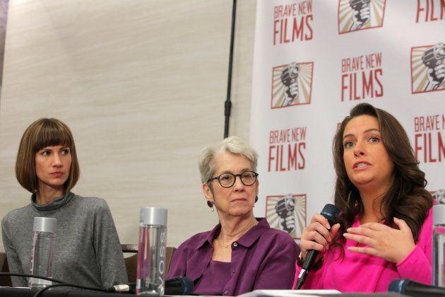 Rachel Crooks, a former receptionist at Trump Tower, Jessica Leeds and Samantha Holvey, a former Miss...