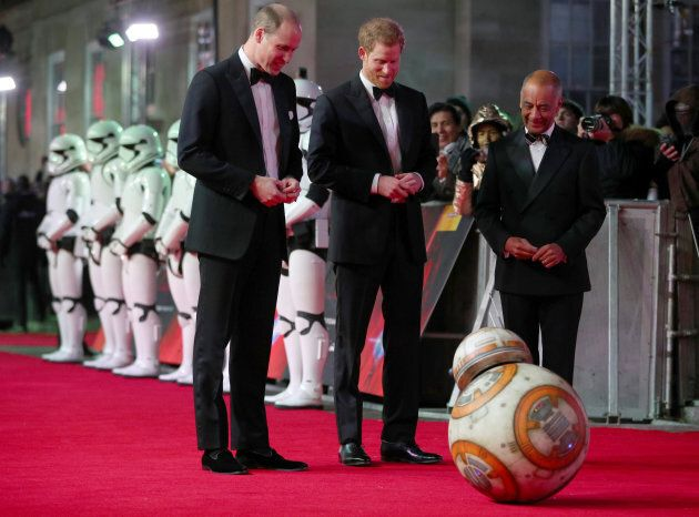 Prince William and Prince Harry, arrive for the premiere of 'Star Wars: The Last Jedi', at the Royal Albert Hall in London. Dec. 12, 2017.