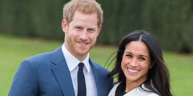 Prince Harry and Meghan Markle during an official photocall to announce their engagement on Nov. 27,...