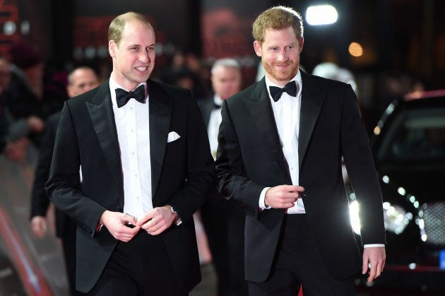 """Prince William and Prince Harry attend the European Premiere of """"Star Wars: The Last Jedi"""" on Dec.12, 2017 in London."""