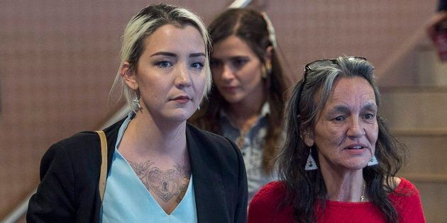 Delilah and Miriam Saunders, the sister and mother of Loretta Saunders, leave the National Inquiry into Missing and Murdered Indigenous Women and Girls, hearing in Membertou, N.S. on Oct. 30, 2017. Loretta was murdered in Halifax in February 2014.
