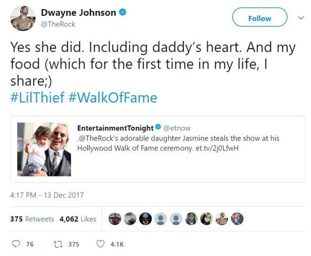 Dwayne Johnson's Baby Girl Was The Highlight Of His Hollywood Walk Of Fame