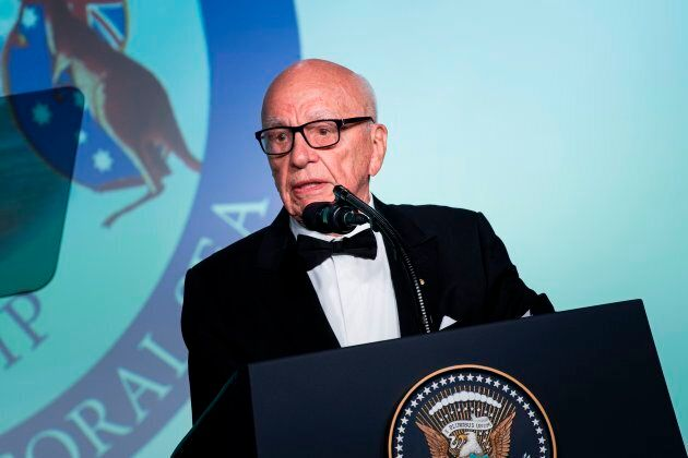 Rupert Murdoch, Executive Chairman of News Corp, speaks during a dinner to commemorate the 75th anniversary...