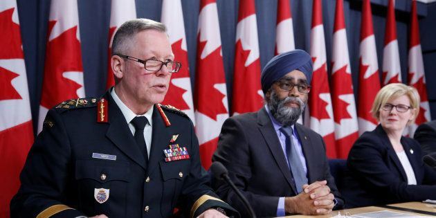 Chief of the Defence Staff General Jonathan Vance speaks during a news conference with Defence Minister...