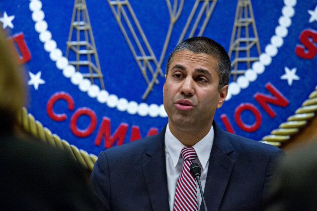 Ajit Pai, chairman of the Federal Communications Commission (FCC), speaks during an open commission meeting in Washington, D.C., on Thursday.