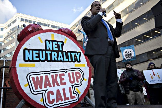 Representative Keith Ellison, a Democrat from Minnesota, speaks during a rally opposing the roll back of net neutrality rules outside the Federal Communications Commission (FCC) headquarters ahead of a open commission meeting on Thursday.