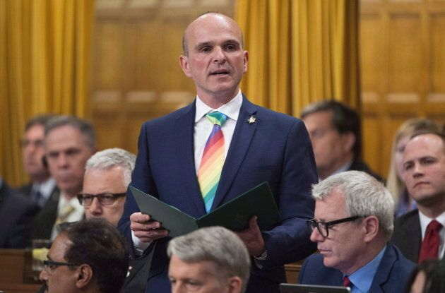 Liberal MP Randy Boissonnault rises during statements in the House of Commons on June 13, 2016 in