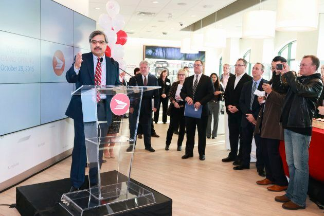Canada Post CEO Deepak Chopra speaks at an event.